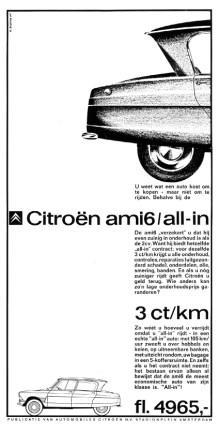 Advertentie Citroen Ami, 1964, ontwerp Suyling, copywriter Hans Ferree