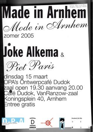 Made in Arnhem/mode in Arnhem, Karen van de Kraats, ontwerpcafe maart 2005.