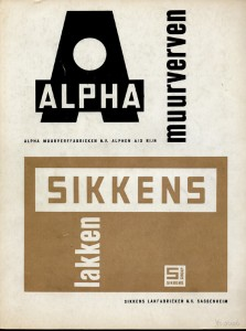 Beeldmerken Sikkens verven, jaren zestig, advertentie in Forum.