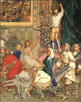 Lodewijk XIV bezoekt de Manufacture des Gobelins in 1667, afgebeeld op een tapijt met o.a. ook de ontwerpers Domenico Cucci en Philippe Caffieri (coll. Mobilier National Parijs).