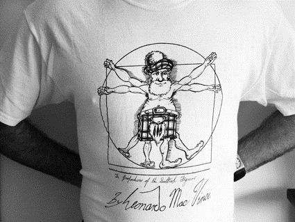 T-shirt, The Proportions of the Scottish Figure by Leonardo Mac Vinci, 2010 (foto: M. Groot).