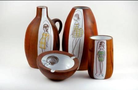 Vazen en asbak Teak aardewerk 1961