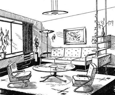 Behaaglijk Baedeker-interieur in staal en glas.