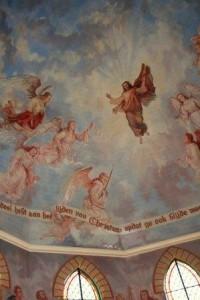 Schildering van Ganzert in de kerk van Veenhuizen.