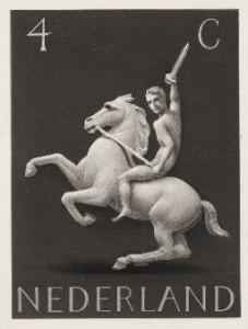 Koch postzegel Germaans ruiter te paard k