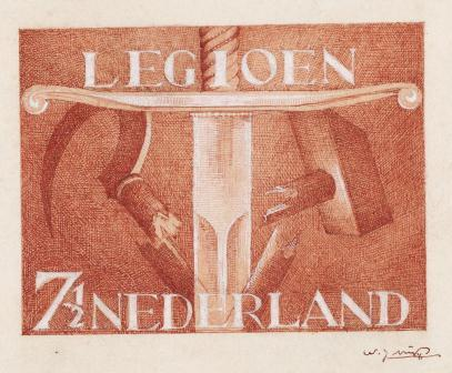 Ontwerp voor Legioenpostzegel, Willem Nijs 1942, coll. Museum voor Communicatie.
