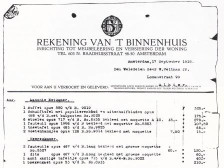 Detail rekening Veltman jr. 1918 (foto: Tom Haartsen).