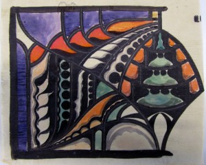 Willem Bogtman, ontwerptekening voor een glas-in-lood bovenlicht, circa 1915-1925. (foto auteur)